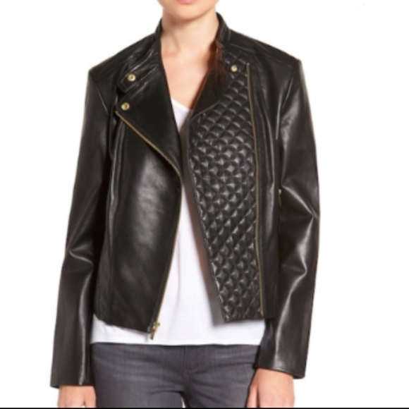 Cole Haan Jackets Coats Nwt Leather Moto Jacket Large Asymmetric